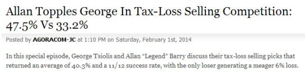Tax Loss Selling Result Headline